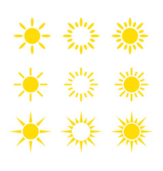 creative yellow sun icon design collections vector image
