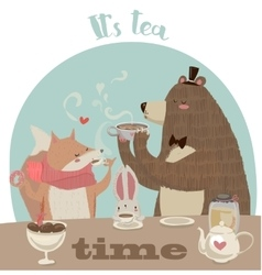 Cute cartoon bear drinking tea vector