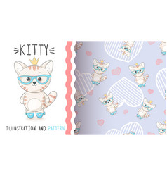 cute princess kitty - seamless pattern vector image