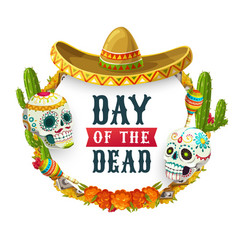Day dead mexican catrina calavera in sombrero vector