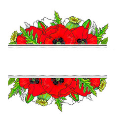 decoration element with poppies and place for text vector image