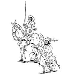 Don quixote and sancho panza on white vector