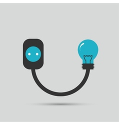 Electric wire light bulb and plug design vector