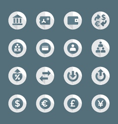 Flat style various financial banking icons set vector