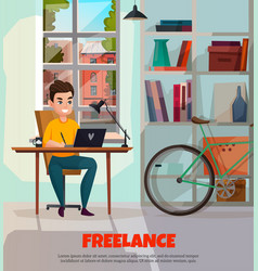Freelancer during work vector