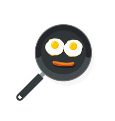 fried eggs on pan with sausage food smile vector image
