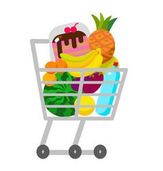 Full supermarket shopping trolley cart vector
