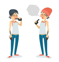 Girl vape smoking female geek hipster casual vector