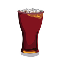 Glass of cola with ice cubes drink soda vector