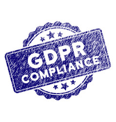 Grunge textured gdpr compliance stamp seal vector