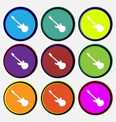 Guitar icon sign Nine multi colored round buttons vector image