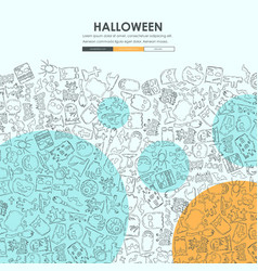 Halloween doodle website template design vector