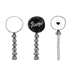Hand drawn happy birthday balls vector image