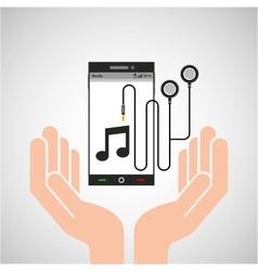 Hand mobile phone earphone note vector