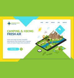 hiking in a park concept landing web page template vector image