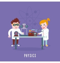 Kids education Physics class Children in a lab vector