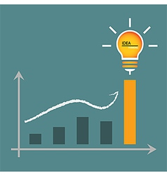 Lamp of idea for graphic graph to height vector image