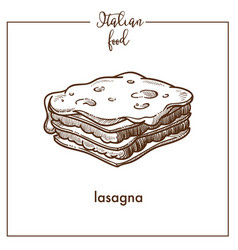 lasagna pasta sketch icon for italian vector image