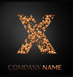 Letter x logo gold dots alphabet logotype vector