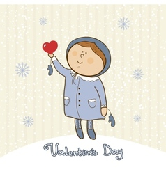 Little girl with heart valentines day postcard vector image