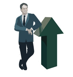 Man standing leaning on up arrow vector