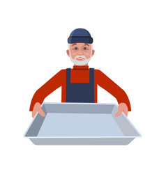 Man with tray vector