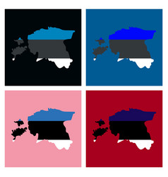 Map estonia isolated black on white background vector