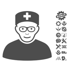 Medical Specialist Icon With Tools Bonus vector