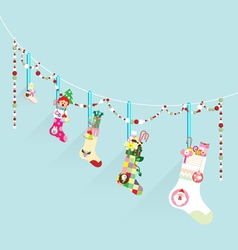 Merry Christmas decoration sock vector