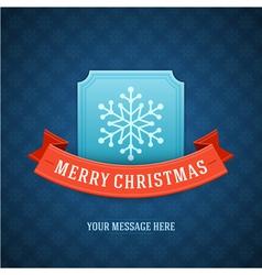 Merry Christmas postcard ribbons and snowflake vector image