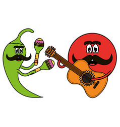 mexican emoji character with guitar and chilli vector image