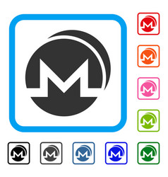 Monero coins framed icon vector