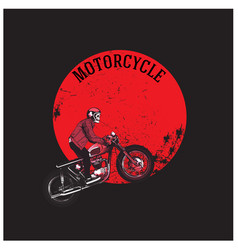 motorcycle man riding motorcycle red moon backgrou vector image