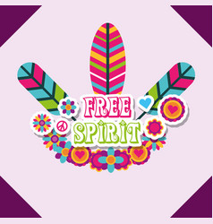 Multicolored feathers flowers retro hippie free vector