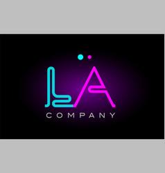 Neon lights alphabet la l a letter logo icon vector
