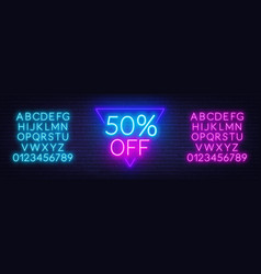 neon offer template for discount on sale neon vector image
