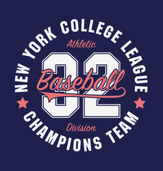 New york baseball typography for number t-shirt vector