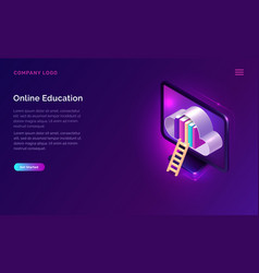 online education or library isometric concept vector image