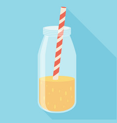 orange juice in a bottle icon flat icon with long vector image