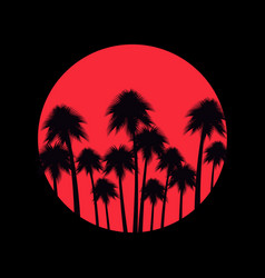 Palm trees on a sunset background tropical vector