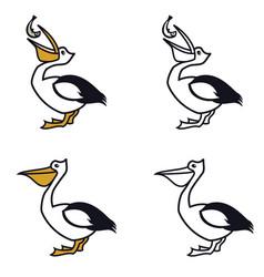 pelican line icons birds color logo vector image