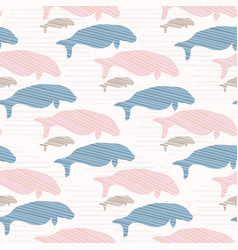 pink and blue seal manatee silhouette wave vector image