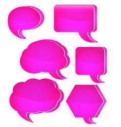 pink speech bubble set vector image