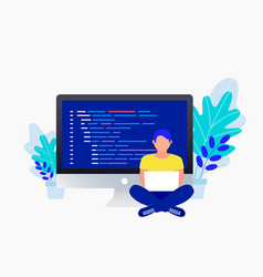 programmer and coding concept vector image