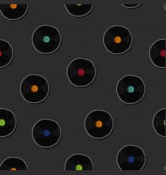 Retro vinyl music cartoon seamless pattern vector
