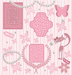 Romantic card with pink elements vector