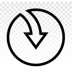 Rounded down arrow or directional down arrow line vector