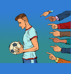 sad football player with ball sports team vector image