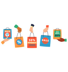 sale shopping bags hands holding paper shoppers vector image