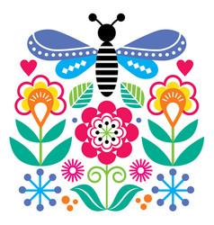 scandinavian folk art style flowers design vector image